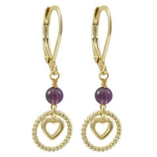 Luxiro Gold Finish Beaded Floating Heart Children's Dangle Earrings