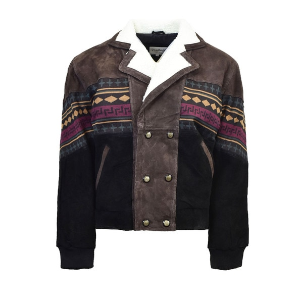 Mens Brown Suede Southwestern Jacket with Sherpa Collar Lining