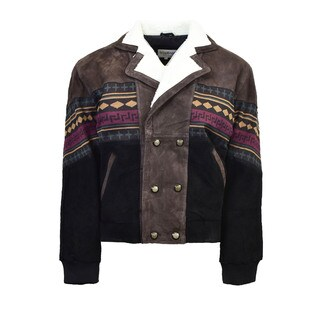 Men's Brown Suede Southwestern Jacket with Sherpa Collar Lining