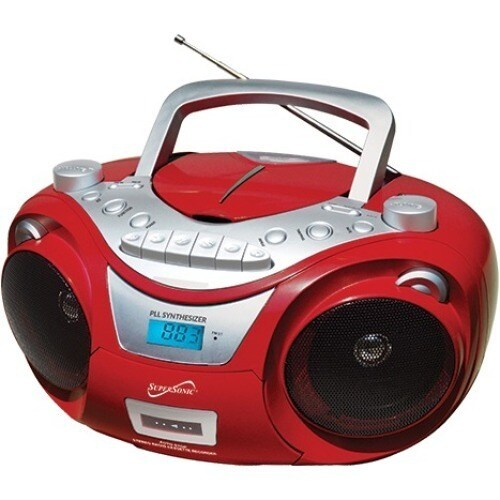 Supersonic Portable Bluetooth Stereo, Red #SC-739BTRED