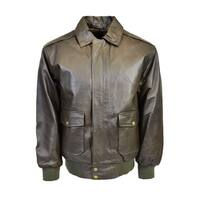 Men's Distressed Brown Leather Classic Aviator Jacket