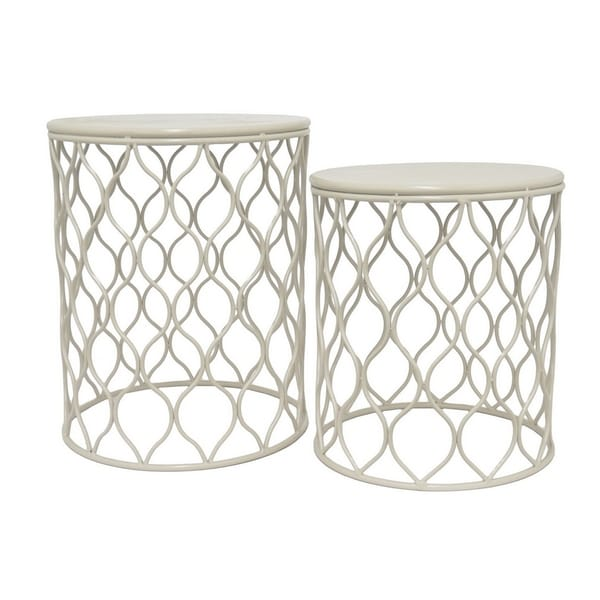 Three Hands Set Of Two Gray Metal Accent Table