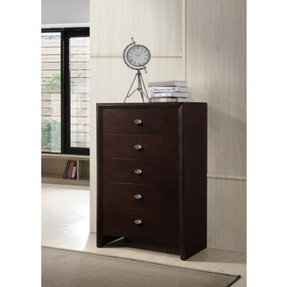 Gloria 351 Brown Cherry Finish Wood 5 Drawers Chest