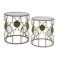 Three Hands Set Of Two Metal Table With Beveled Mirror Top