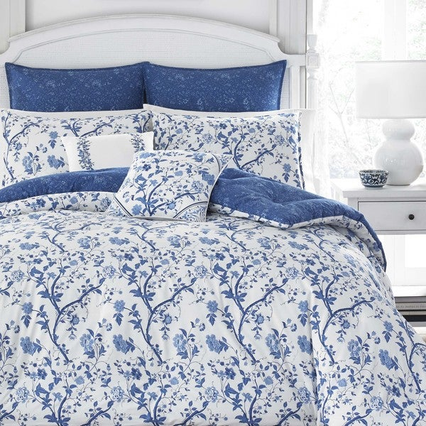 Laura Ashley Elise Navy 7 Piece Comforter Set Free