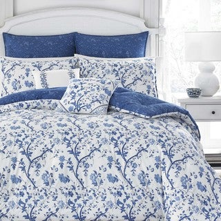 Laura Ashley Elise Navy Floral 7-piece Comforter Set