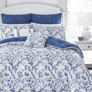Superieur Laura Ashley Elise Navy 7 Piece Comforter Set