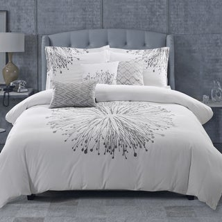 Adrien Lewis Nika White 6 Piece Embroidered Comforter Set