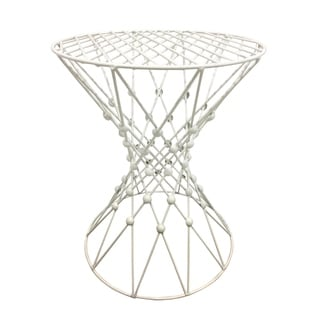 Three Hands Metal Accent Table - White