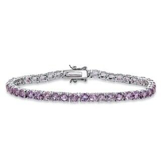 "8.60 TCW Round Genuine Purple Brazil Amethyst Tennis Bracelet Silvertone 7.25"""