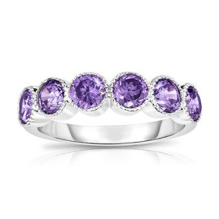 Noray Design 14K White Gold 6-Stone Bezel Set Amethyst (4.5MM, Round Cut) Ring - Purple