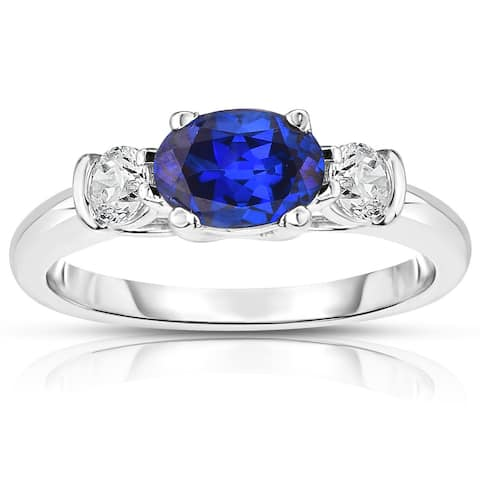 Noray Designs 14K White Gold Oval Blue Sapphire & Diamond (1/4 Ct, G-H Color, SI2-I1 Clarity) Ring