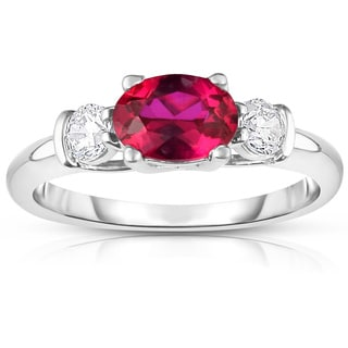 Noray Design 14K White Gold Oval Ruby & Diamond (1/4 Ct, G-H Color, SI2-I1 Clarity) Ring - Red
