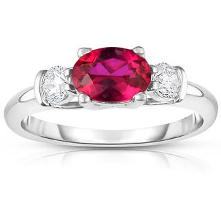 Noray Design 14K White Gold Oval Ruby & Diamond (1/4 Ct, G-H Color, SI2-I1 Clarity) Ring - Red|https://ak1.ostkcdn.com/images/products/15296899/P21764540.jpg?impolicy=medium