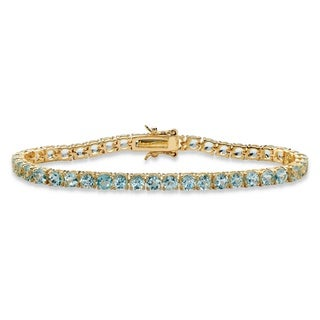 12.90 TCW Round Genuine Sky Blue Topaz Tennis Bracelet 18k Yellow Gold-Plated 7.25""