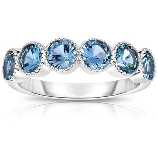 Noray Design 14K White Gold 6-Stone Bezel Set London Blue Topaz (4.5MM, Round Cut) Ring