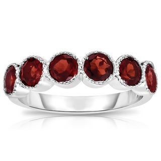 Noray Design 14K White Gold 6-Stone Bezel Set Garnet (4.5MM, Round Cut) Ring - Red