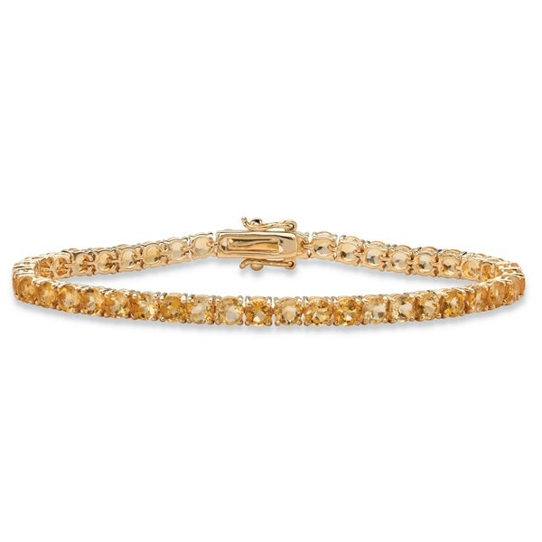 """Yellow Gold-Plated Tennis Bracelet (4mm), Round Genuine Yellow Citrine, 7.25"""". Opens flyout."""