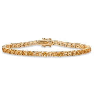 Yellow Gold-Plated Tennis Bracelet (4mm), Round Genuine Yellow Citrine, 7.25""