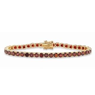 "12.90 Tcw Round Genuine Red Garnet Tennis Bracelet Yellow Gold-Plated 7.25"""