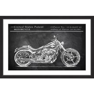 Antique Motorcycle Design' Framed Painting Print