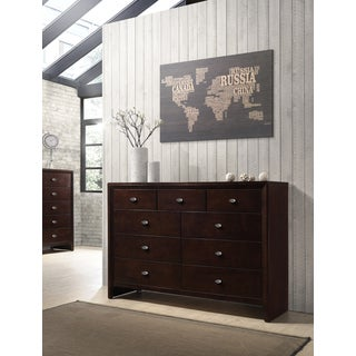 Gloria 351 Brown Cherry Finish Wood 9 Drawers Dresser