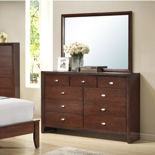 Gloria 351 Brown Cherry Finish Wood Dresser and Mirror