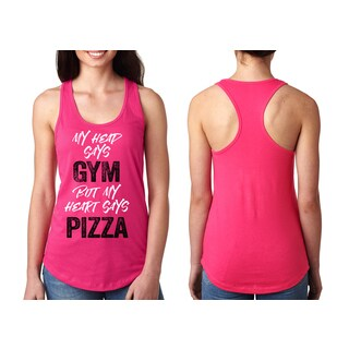 """""""My Head Says Gym But My Heart Says Pizza"""" Ladies' Racerback Tank Top"""