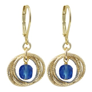 Luxiro Gold Finish Crystal Bead Linked Circles Dangle Earrings