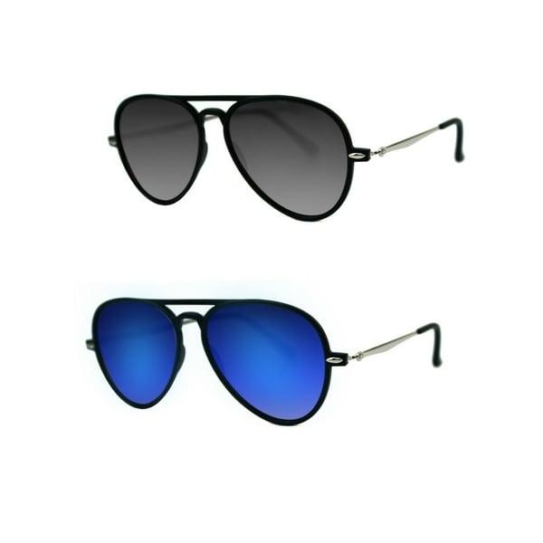 1c72b74162 Shop Unisex Flat Mirror Lens Aviator Sunglasses P4132   Pouch - Free ...