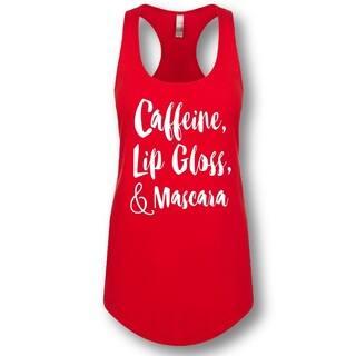 """Caffeine Lip Gloss, & Mascara"" Ladies' Racerback Tank Top https://ak1.ostkcdn.com/images/products/15297074/P21764721.jpg?impolicy=medium"