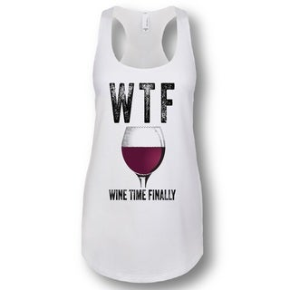 """WTF Wine Time Finally"" Ladies' Racerback Tank Top"