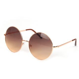 POP Fashionwear Retro Vintage P2046 Unisex Round Metal Frame Oversized Lens Sunglasses (Option: Gold - Brown)