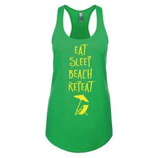 """""""Eat Sleep Beach Retreat"""" Ladies' Racerback Tank Top"""
