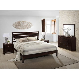 Gloria 351 Brown Cherry Finish Wood Bed Room Set, King Bed, Dresser, Mirror