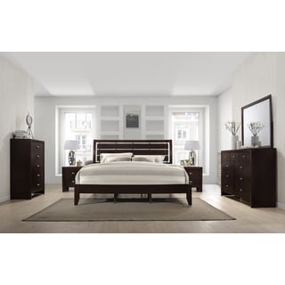 cherry wood bedroom set. Gloria 351 Brown Cherry Finish Wood Bed Room Set, King Bed, Dresser, Mirror Bedroom Set D