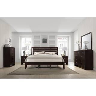 King Size Bedroom. Gloria 351 Brown Cherry Finish Wood Bed Room Set  King Dresser Mirror Size Bedroom Sets For Less Overstock com