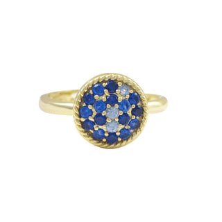 Luxiro Gold Finish Sterling Silver Lab-created Blue Spinel Adjustable Ring