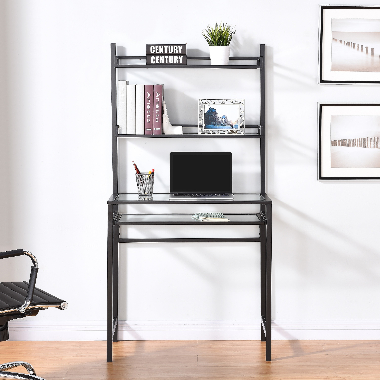 - Shop Brackley Metal/Glass Small-Space Desk W/ Hutch - Black