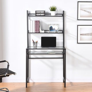 Harper Blvd Brackley Metal/Glass Small-Space Desk w/ Hutch - Black