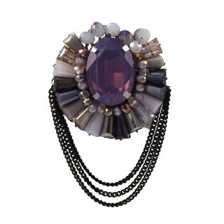 Luxiro Black Finish Purple Crystal Multi-color Beads Oval Brooch