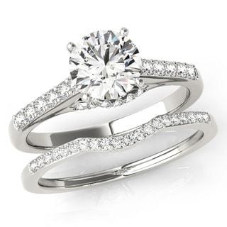 Scintilenora Curved Band Crisss Cross Diamond Bridal Wedding Set 18k Gold 1 1/5 TDW