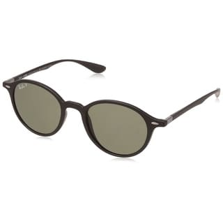 Ray-Ban Round Liteforce RB4237 601S58 Unisex Black Frame Polarized Green Classic 50mm Lens Sunglasses