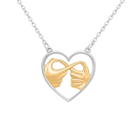 """Sterling Silver Always Infinity Hands Heart Necklace, 18"""""""