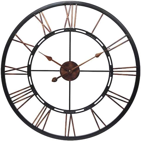 Metal Fusion Black and Bronze Large Open Face 28 inch Wall Clock by Infinity Instruments