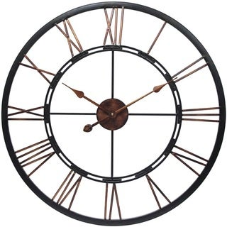 Link to Metal Fusion Black and Bronze Large Open Face 28 inch Wall Clock by Infinity Instruments Similar Items in Decorative Accessories