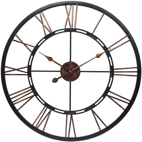 Metal Fusion Black and Bronze Large Open Face 28 inch Wall Clock by Infinity Instruments. Opens flyout.