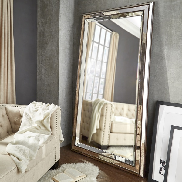 Ainsley mottled silver frame floor mirror by inspire q for Silver framed floor mirror
