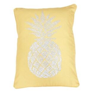 Thro Polly Pineapple Faux Linen Golden Stud Design Throw Pillow