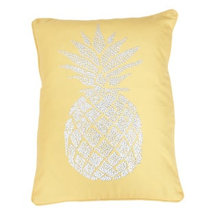 Thro Polly Pineapple Faux Linen Golden Stud Design Throw Pillow